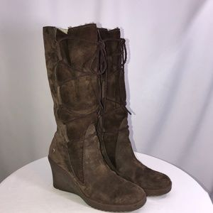 EUC UGG Brown Suede Wedge Lace Up Boots size 7